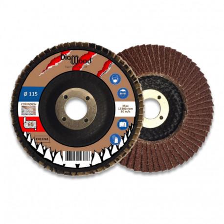 Lot de 5 disques lamelles bombés corindon D. 115 x Al. 22,23 x Gr. 60 - Métal, bois - Diamwood