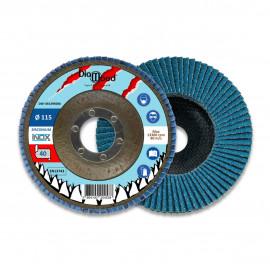 Lot de 5 disques lamelles bombés zirconium D. 115 x Al. 22,23 x Gr. 40 - Inox, Acier - Diamwood