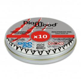 Boîte de 10 disques à tronçonner D. 125 x Al. 22,23 x ép. 1,6 mm - Inox, Acier - Diamwood