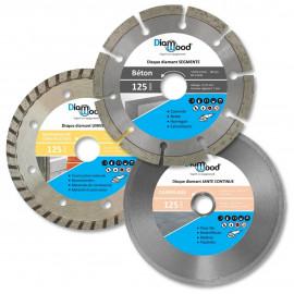 3 disques diamant D. 125 x Al. 22,23 x Ht. 7/7/5 mm - béton, carrelage, tuile, matériaux de construction - Diamwood
