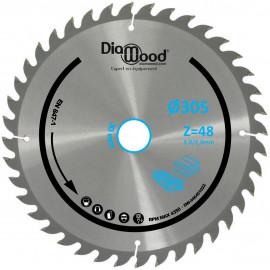 Lame de scie circulaire HM universelle D. 305 x Al. 30 x ép. 3,0/2,0 mm x Z48 TP Nég pour Alu/bois - Diamwood