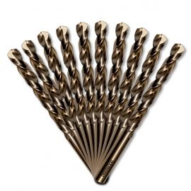 10 forets métaux HSS Cobalt 5% D. 5 mm x Lu. 52 x Lt. 86 mm 135° taillé, meulé pour acier / Inox - Diamwood