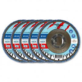 Lot de 5 disques lamelles bombés zirconium D. 115 x Al. 22,23 x Gr. 60 - Inox, Acier - Diamwood