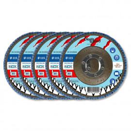 Lot de 5 disques lamelles bombés zirconium D. 115 x Al. 22,23 x Gr. 80 - Inox, Acier - Diamwood