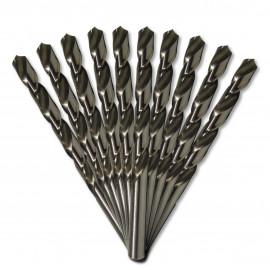 10 forets métaux HSS M2 Pro D. 2,5 mm x Lu. 30 x Lt. 57 mm 135° taillé, meulé pour aciers - Diamwood