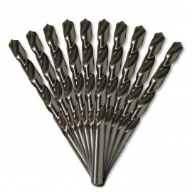 10 forets métaux HSS M2 Pro D. 6,5 mm x Lu. 63 x Lt. 101 mm 135° taillé, meulé pour aciers - Diamwood
