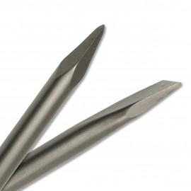 Jeu de pic biseauté D. 14 mm et Burin plat 20 x Lt. 250 mm SDS+ en acier trempé 40CR pour béton, pierre, brique - Diamwood
